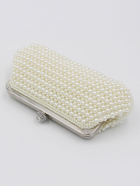 Pearl Clutch Bag White Wedding Purse Bridal Party Beading Evening Handbags (uk41642144) photo