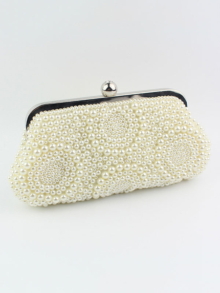 Pearls Clutch Bag Wedding Purse White Beading Bridal Party Evening Handbags (usa41642112) photo