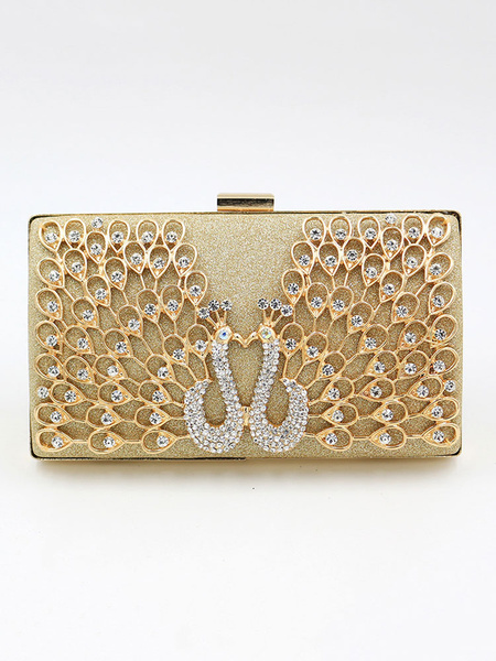 Wedding Clutch Bags Gold Purse Peacock Bridal Party Evening Handbags