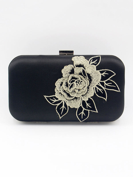 Evening Clutch Purse Bag Black Floral Print Wedding Purse Party Bridal Handbags (usa41642124) photo