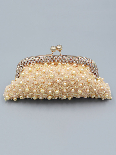 Wedding Clutch Bag Purse Pearls Beading Champagne Bridal Party Evening Handbags (usa41642130) photo