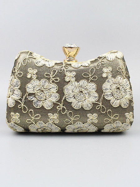Clutch Bag White Wedding Purse Flowers Embroidered Bridal Party Evening Handbags (usa41642148) photo