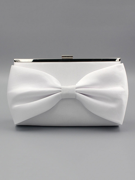 White Wedding Clutch Bags Bows Silk Evening Purse Bridal Party Handbags (uk41642140) photo