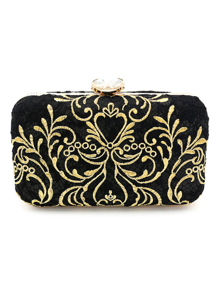 Evening Clutch Purse Bag Black Embroidered Bridal Party Wedding Handbags (usa41642128) photo