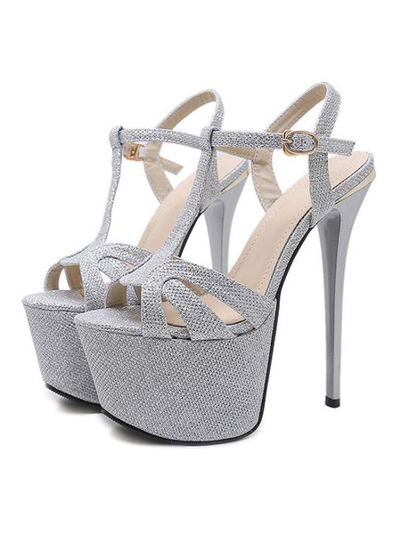 Image of Silver Sexy Sandals Glitter Platform Peep Toe Buckle Detail Stiletto Heel Shoes High Heel Sandals