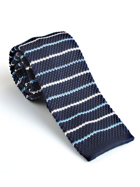 Men Knit Tie Stripe Navy Blue Casual Square Tie