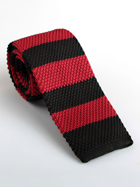 Knit Square Tie Stripe Color Block Dark Red Men Casual Necktie