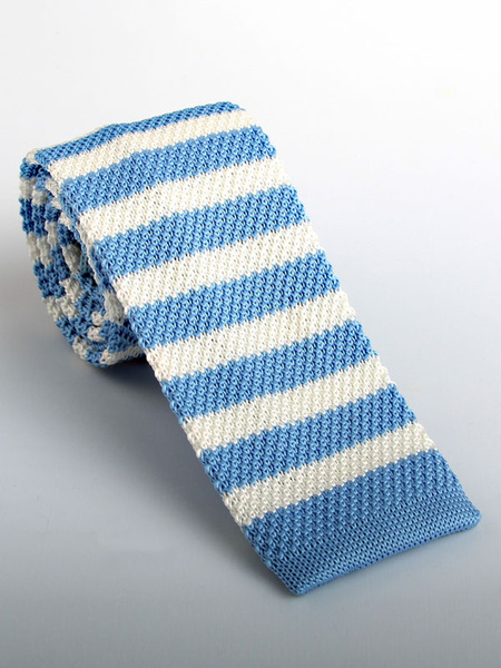Men Knit Tie Stripe Light Blue Casual Square Tie