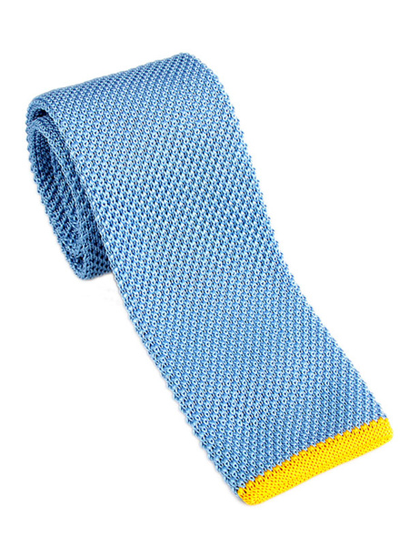Blue Neck Tie Two Tone Knit Square Tie For Men
