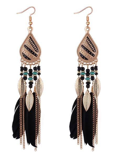 Image of Orecchini pendenti con orecchini pendenti con frangia catena orecchini pendenti