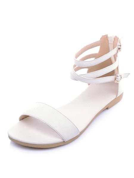 Image of Black Flat Sandals Women Open Toe Buckle Detail Ankle Strap Beach Sandals