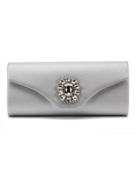 Evening Clutch Bags Silver Rhinestone Beaded Envelope Purse Bridal Party Handbags (usa41679604) photo