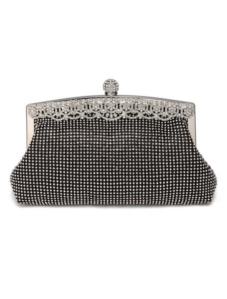 Silver Evening Clutch Bags Rhinestones Purse Beading Wedding Bridal Party Handbags (usa41697774) photo