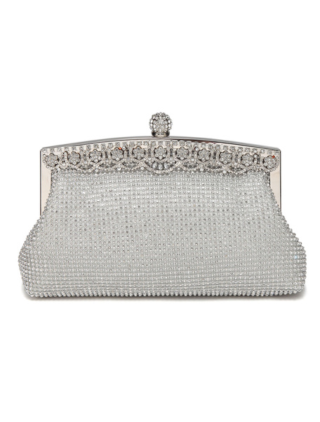Silver Evening Clutch Bags Rhinestones Purse Beading Wedding Bridal Party Handbags (uk41697776) photo
