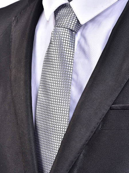 Men Casual Tie Plaid Jacquard Silver Gray Neck Tie