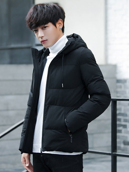 Image of Men Down Coat Plus Size Hooded Wadded Jacket Cotton Fill Zipper Long Sleeve Quilted Jacket