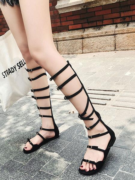 Image of Black Gladiator Sandals Women Open Toe Buckle Detail Zip Up Flat Sandals