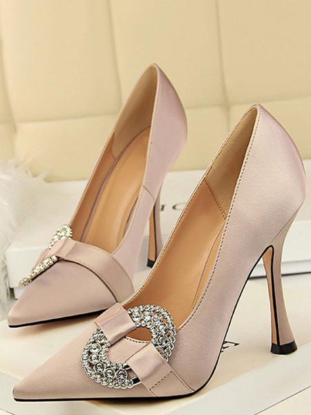 Satin Soirée Chaussures Camée Rose Strass Slip On Party Chaussures Femmes Talons hauts