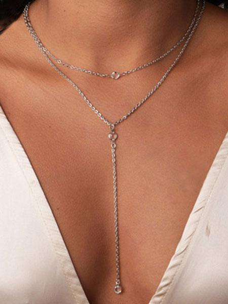 Image of Collana in argento con collana a strati Y per lei