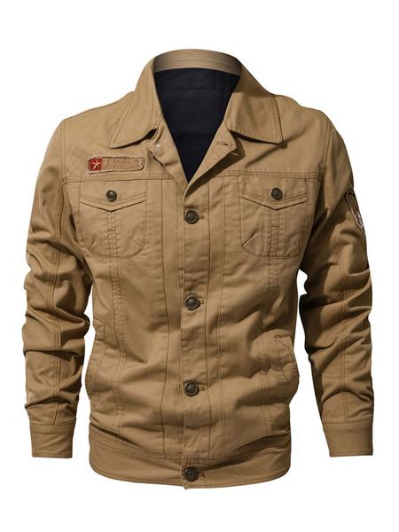 Image of Men Utility Jacket Plus Size Button Up Pocket Cargo Jacket Slim Fit Hunter Green Denim Jacket