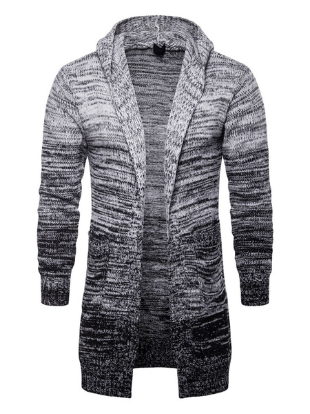 Image of Men Knit Cardigan Hooded Long Sleeve Relaxed Fit Grey Cardigan Coat