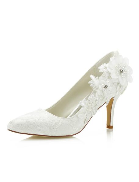 Chaussures de mariée en dentelle Ivoire à bouts pointus Fleurs Slip On Chaussures de mariée Talons hauts