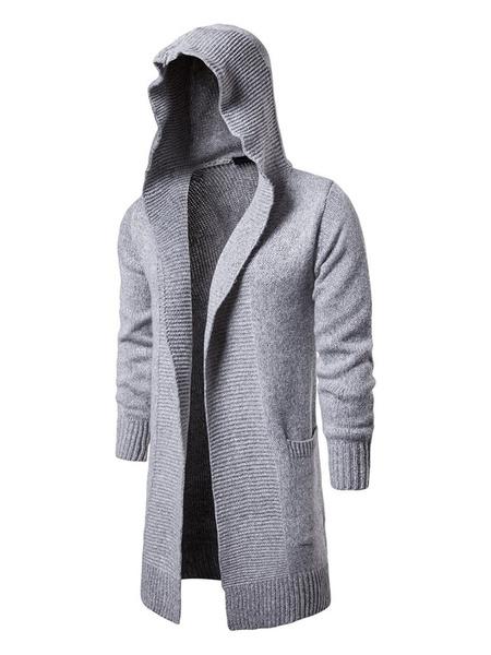Image of Men Cardigan Coat Knitted Hooded Slim Fit Longline Cardigan Sweater
