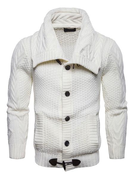 Image of Men Cardigan Jacket Horn Button Turndown Collar Long Sleeve Knitwear