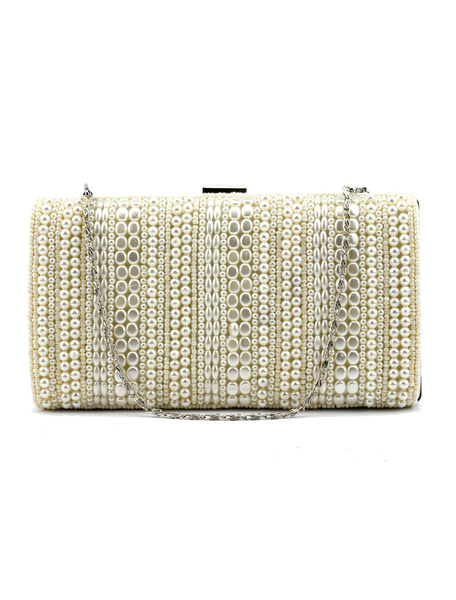 Pearl Clutch Bag Black Wedding Purse Party Beading Evening Handbags (usa41748406) photo