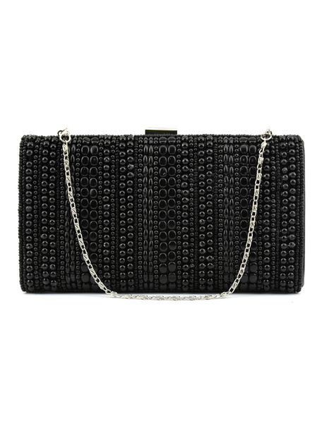 Pearl Clutch Bag Black Wedding Purse Party Beading Evening Handbags (usa41748408) photo