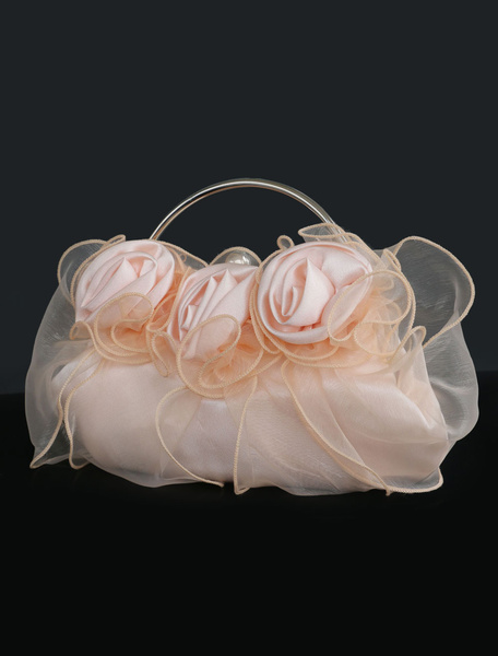 Wedding Clutch Bags Champagne Flowers Organza Purse Women Party Handbags (uk41748424) photo