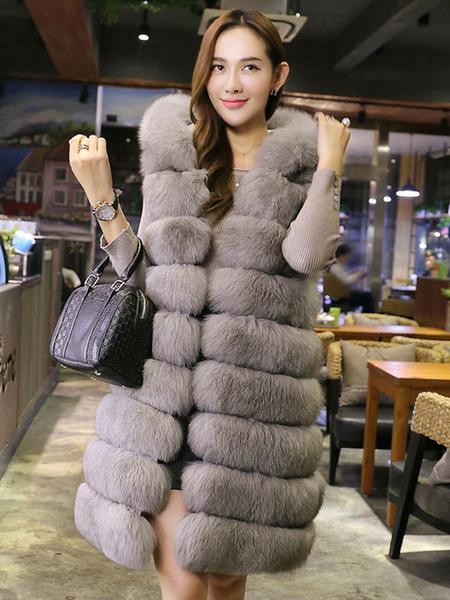 Image of Faux Fur Jacket Grey Winter Jacket Sleeveless Layered Hooded Jacket For Women