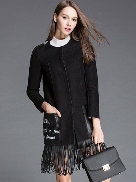 Image of Women Winter Coat Long Sleeve Fringe Pockets Letters Wool Blend Longline Coat