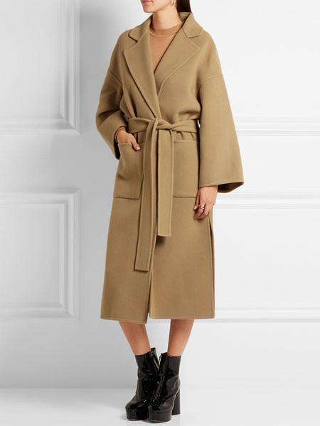 Image of Wool Cocoon Coat Camel Wrap Coat Pockets Tie Belt Women Winter Coat