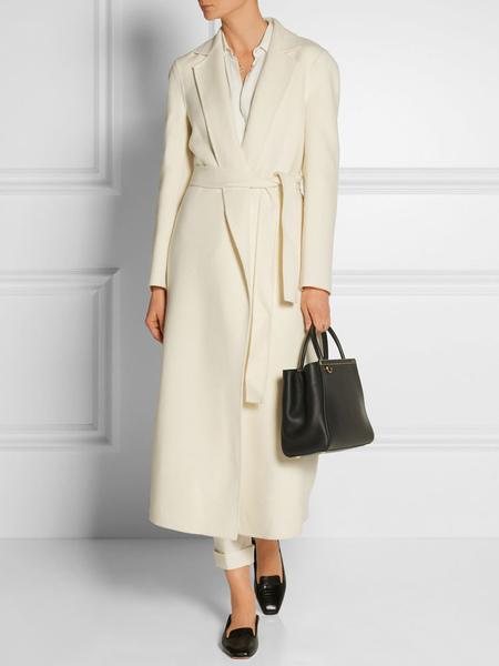 Image of White Wool Coat Women Wrap Coat Pockets Turndown Collar Long Sleeve Winter Coat