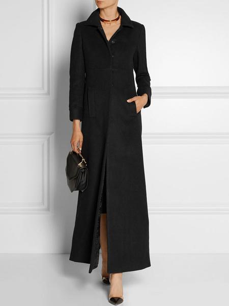 Image of Black Wool Coat Women Pockets Turndown Collar Long Sleeve Maxi Winter Coat