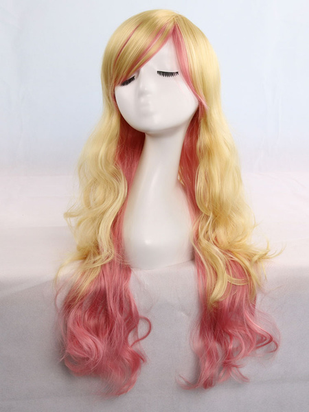 Halloween Hair Wigs Two Tone Long Curly Hair Wigs Carnival Hair Wigs For Women