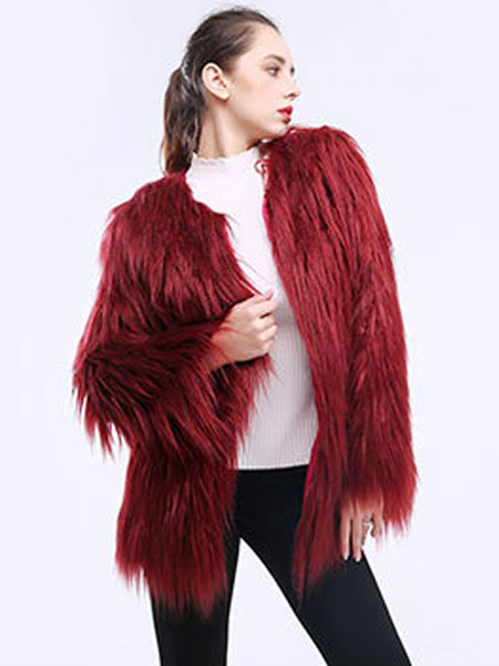 Image of Women Faux Fur Coat Round Collar Long Sleeve Luxury Winter Coat Fluffy Coat
