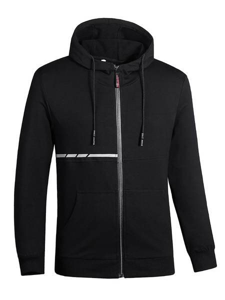 Image of Black Hooded Jacket Plus Size Cotton Zipper Casual Jacket Long Sleeve Men Jersey Jacket