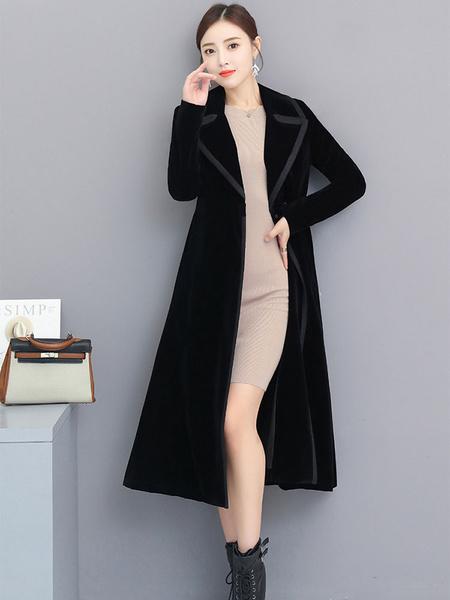 Image of Black Winter Coat Velour Turndown Collar Women Maxi Coat