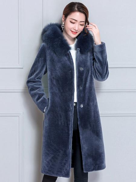 Image of Faux Fur Hooded Coat Women Velour Coat Longline Winter Coat