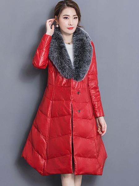 Image of Down Puffer Coat Women Faux Fur Collar Winter Coat Irregular Trim Bubble Coat With Pockets