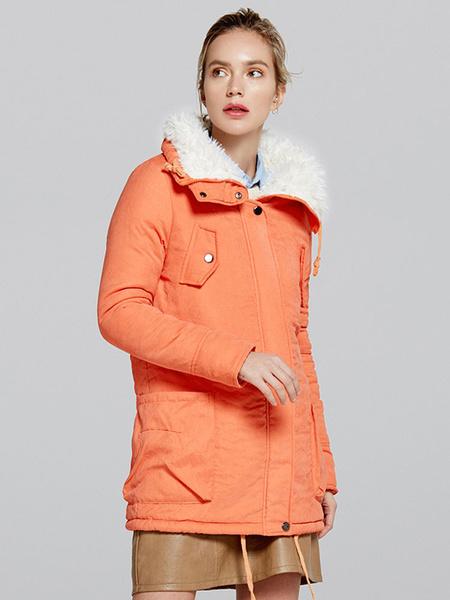 Image of Women Winter Coat Cotton Pockets Drawstring Turndown Collar Shearling Coat