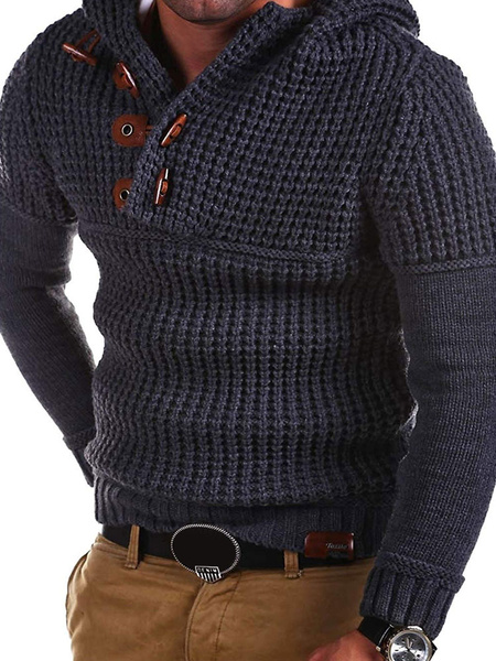 Image of Men Pullover Sweater Hooded Claw Button Long Sleeve Knit Sweater