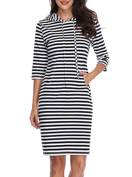 Image of Striped Bodycon Dress Black Hooded Dress Cotton Blend Shaping Midi Dress