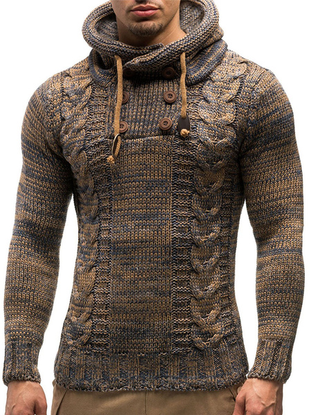Image of Men Pullover Sweater Hooded Cable Knit Drawstring Button Deep Grey Casual Knit Sweater