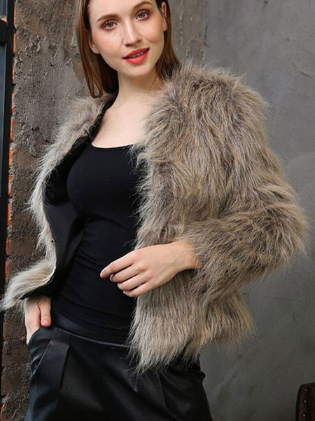 Image of Faux Fur Coat Women Winter Coat Open Front Fluffy Coat