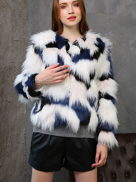Image of Colorful Faux Fur Coat Women Winter Coat Long Sleeve Color Block Fluffy Coat