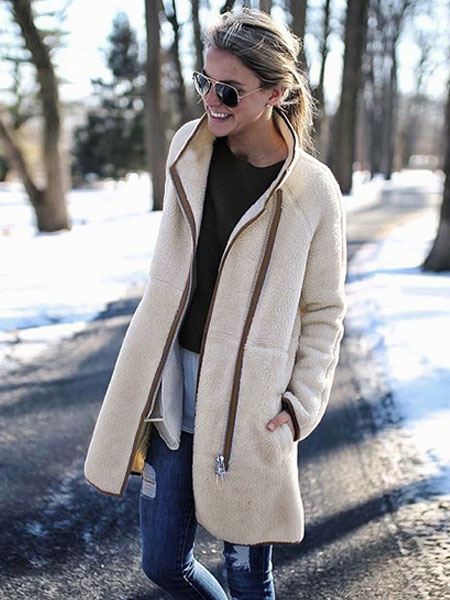 Image of White Faux Fur Coat Teddy Coat Full Zip Long Sleeve Women Winter Coat