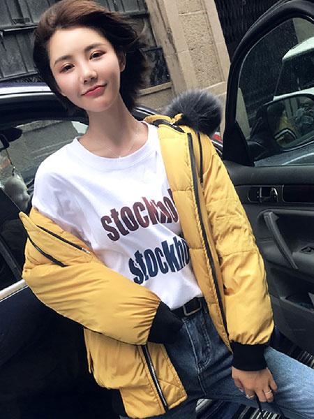 Image of Women Puffer Jacket Faux Fur Collar Hooded Jacket Striped Zip Cotton Fill Winter Jacket
